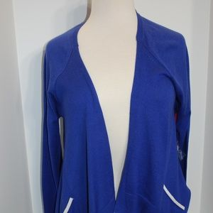 NWT Elle Blue & White Cardigan Sweater Back Detail